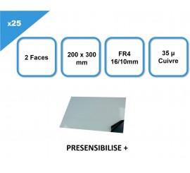 Coffret de 25 Plaques présensibilisées FR4, 2F, 16/10, 35µm, 200 x 300 mm