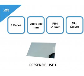 Coffret de 25 Plaques présensibilisées FR4, 1F, 8/10, 35µm, 200 x 300 mm